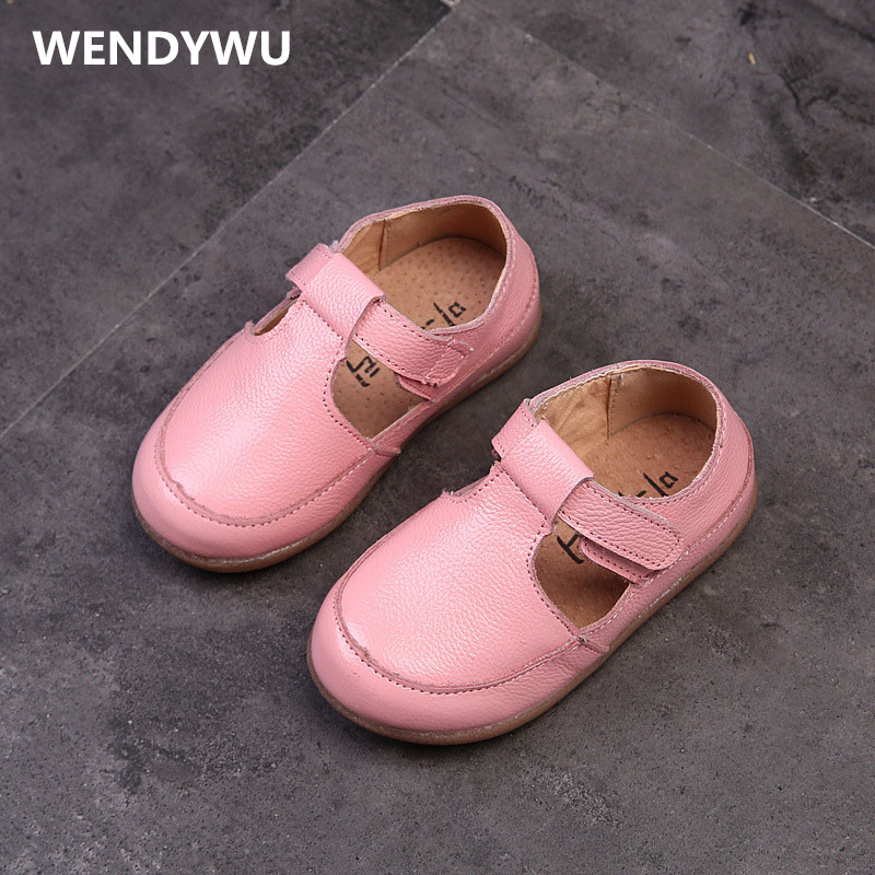 WENDYWU girls toddler pink flats for baby girl brand strap kid genuine leather shoes children fashion party black Pure pink siketu best gift baby flats tassel soft sole cow leather shoes infant boy girl flats toddler moccasin bea6624