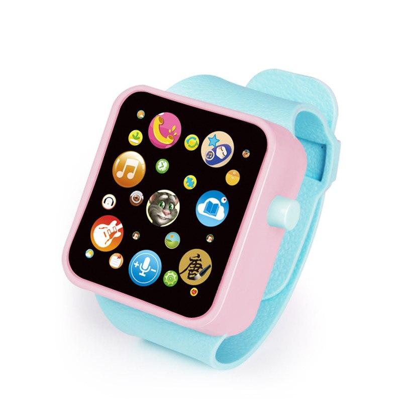 6 цветов, детская игрушка для раннего развития, наручные часы, 3D сенсорный экран, музыка, умное обучение, Лидер продаж, подарки на день рождения - Цвет: WARM BLUE