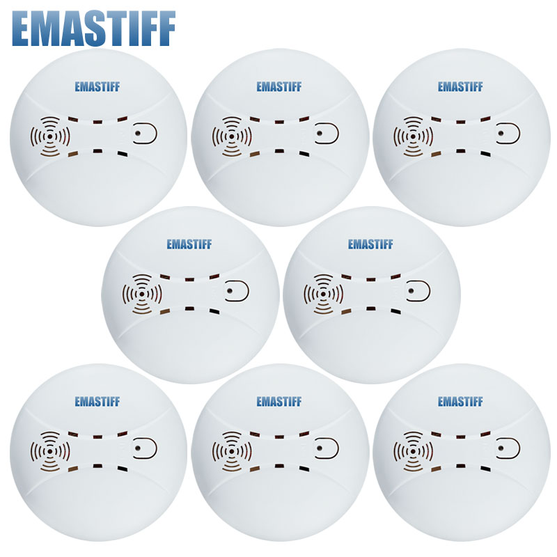 Free Shipping! HOT sale!!!8 pcs 315/433MHZ Fire Smoke Detector Sensor Alarm Home Wireless Security for gsm pstn alarm system wireless call system for nursing home for quick service with personalized cann button and led display hot sale shipping free