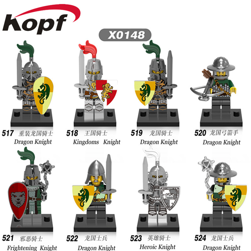 Single Sale Super Heroes Medieval Knights Gladiatus Dragon Frightening Warrior Bricks Building Blocks Children Gift Toys X0148 1 leader 16pcs lot medieval knights xh645 crusader rome commander super hero building blocks toys children gifts x0164