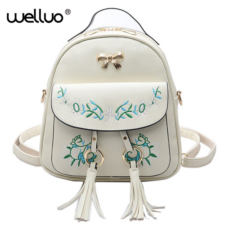 Brand Embroidered Backpack Women Leather Backpack School Bags Teenage Girls Vintage Flower Women Backpack Travel Mochila