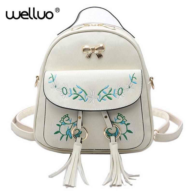 Brand Embroidered Backpack Women Leather Backpack School Bags Teenage Girls Vintage Flower Women Backpack Travel Mochila