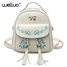 Бренд вышитые рюкзак Для женщин кожаный рюкзак Школьные Сумки Подростков Обувь для девочек Винтаж цветок Для женщин рюкзак Mochila XA593B