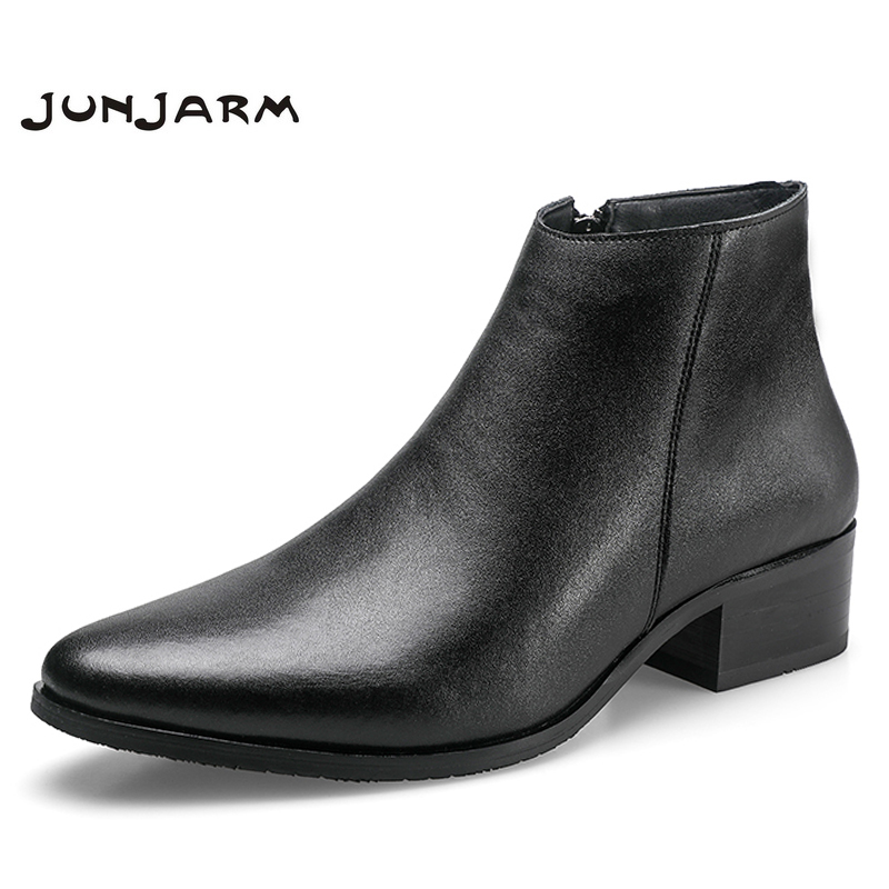 JUNJARM Chelsea Boots Black Genuine-Leather Fashion Footwear Ankle Comfortable Men