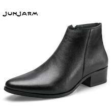 JUNJARM 2019 Men Ankle Boots Genuine Leather Fashion Chelsea Black Comfortable Footwear