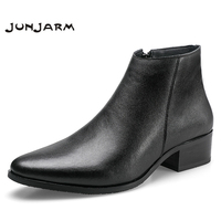 JUNJARM 2019 Men Ankle Boots Genuine Leather Men Boots Fashion Men Chelsea Boots Black Comfortable Men Footwear