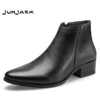 JUNJARM 2019 Men Ankle Boots Genuine Leather Men Boots Fashion Men Chelsea Boots Black Comfortable Men Footwear
