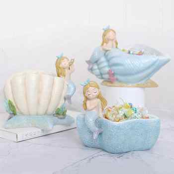 4pcs/set Creative Mermaid Storage Bowl Jewelry Candy Holder Flower Pot Home Garden Decor Multifunction Gifts for Kids