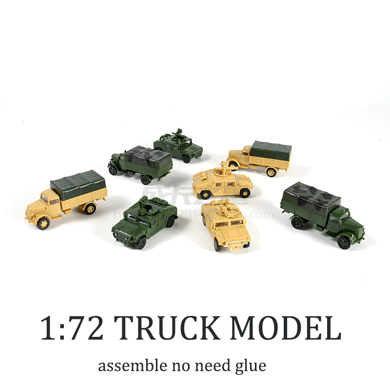 1:72 4D Hummer Missiles Lightning Truck Free Glue Assemble Model Military Children Toy Boy Gift