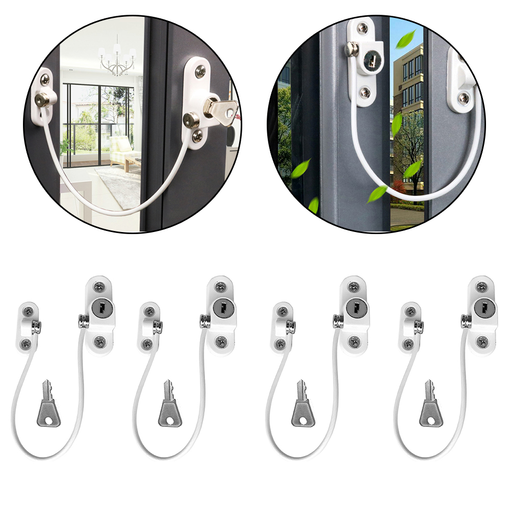 4 Pcs/Lot Child Protection Baby Safety Window Lock Door Stopper Twisted pair Stainless Child Safety Locks Infant Security Lock