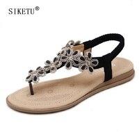 SIKETU Flowers Rhinestone Flip Flops Women Comfortable Ladies Casual Flat Beach Shoes Sweet Bohemia Gladiator Sandals