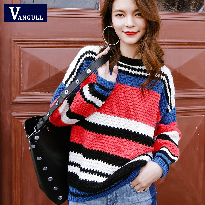 VANGULL Women Sweater 2019 New Female Autumn Winter Hot Rainbow Stripe Pull Loose Knitted Jumper For Lady Causal Spring Sweater