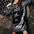 2017 Зима Женщины Блесток Dress Glitter dress Sexy Vestido fiesta mujer де курто длинными рукавами Украина Пром Christmas Dress