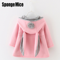 Sponge Mice Cute Rabbit Ear Hooded Girls Coat New Top Autumn Winter Warm Kids Jacket Outerwear