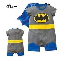 Livraison Gratuite DÉTAIL Bébé Barboteuses Batman Costumes Cosplay cape Enfant Bébé Corps costumes manteau cap HJ
