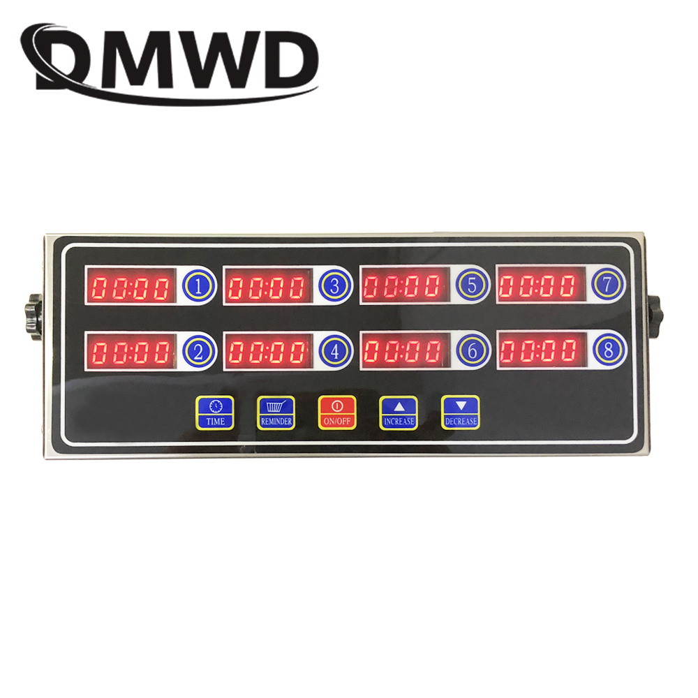 DMWD Commercial eighth 8 channel key kitchen timer Digital button timing reminder Restaurant loud Alarm Countdown Hamburger shop universal oven timer buzzer alarm reminder
