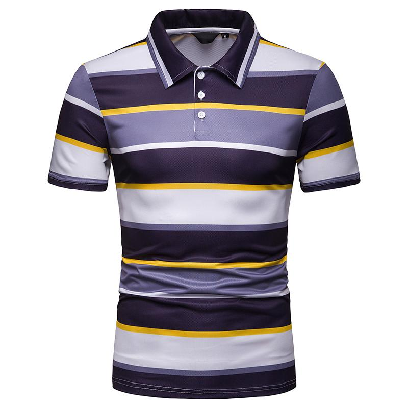 Business Casual Stripe Men   Polo   Shirt Summer Tops Short sleeve Tees   Polo   Shirt Men's Clothing Lapel Hawaii Beach New