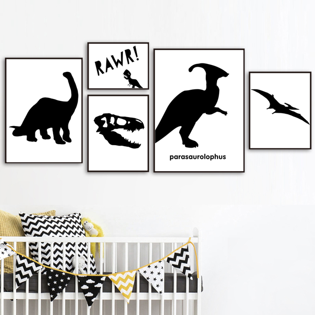 Black White Dinosaur Parasaurolophus Wall Art Canvas Painting Nordic Posters And Prints Wall Pictures Kids Room Nursery Decor