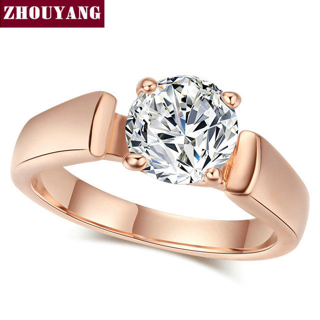 Amazing Top Quality Classic Cubic Zirconia Wedding Ring With 4 Prongs Rose Gold  Color Full Size Wholesale