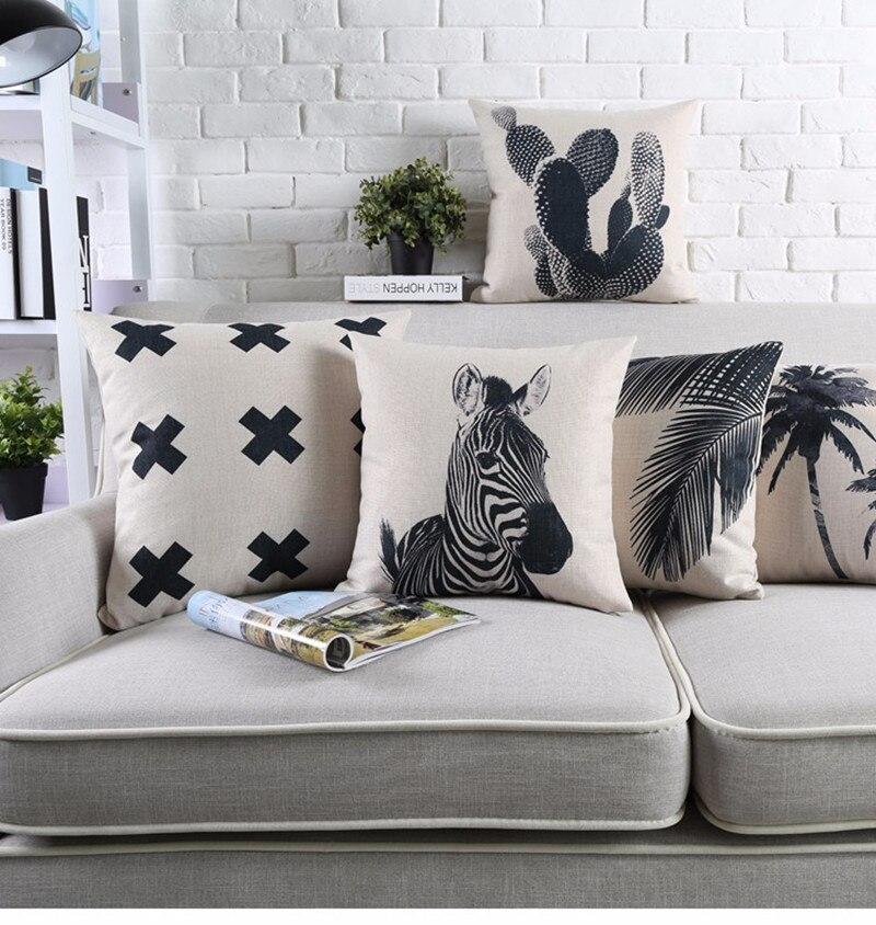 Tropical Style Black And White Geometric Printed Cushion Cover Decorative  Sofa Throw Pillow Car Chair Home
