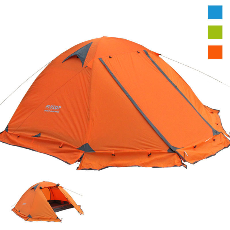Flytop 2-4 person camping hiking tent waterproof 4000+ double layer aluminum pole Ultralight outdoor family tents with skirt good quality flytop double layer 2 person 4 season aluminum rod outdoor camping tent topwind 2 plus with snow skirt