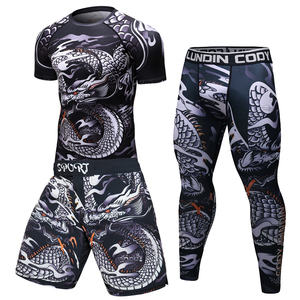 Image 3 - Brand New MMA WorkOut compress men t shirt long sleeves BJJ 3D fitness Tights men Rashguard Tshirt + trousers mens clothing