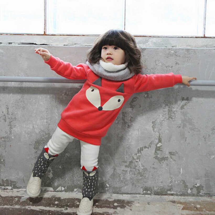 새로운 가을 겨울 아기 여자 정장 여자 아기 벨벳 스웨터 아이 여자 겨울 옷 여자 폭스 벨벳 짙어지면서 2 pcs
