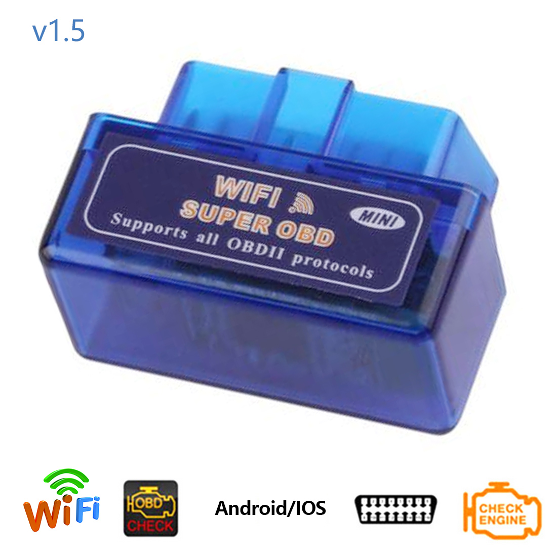 Dewtreetali Elm327 WiFi Version <font><b>1.5</b></font> Mini OBDII Code Reader With Chip <font><b>PIC18F25K80</b></font> OBD <font><b>2</b></font> ELM 327 Wifi Diagnostic Scanner Tool image