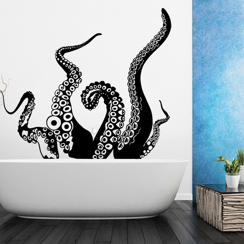 buy octopus tentacle sea creature vinyl super large wall sticker for bathroom. Black Bedroom Furniture Sets. Home Design Ideas