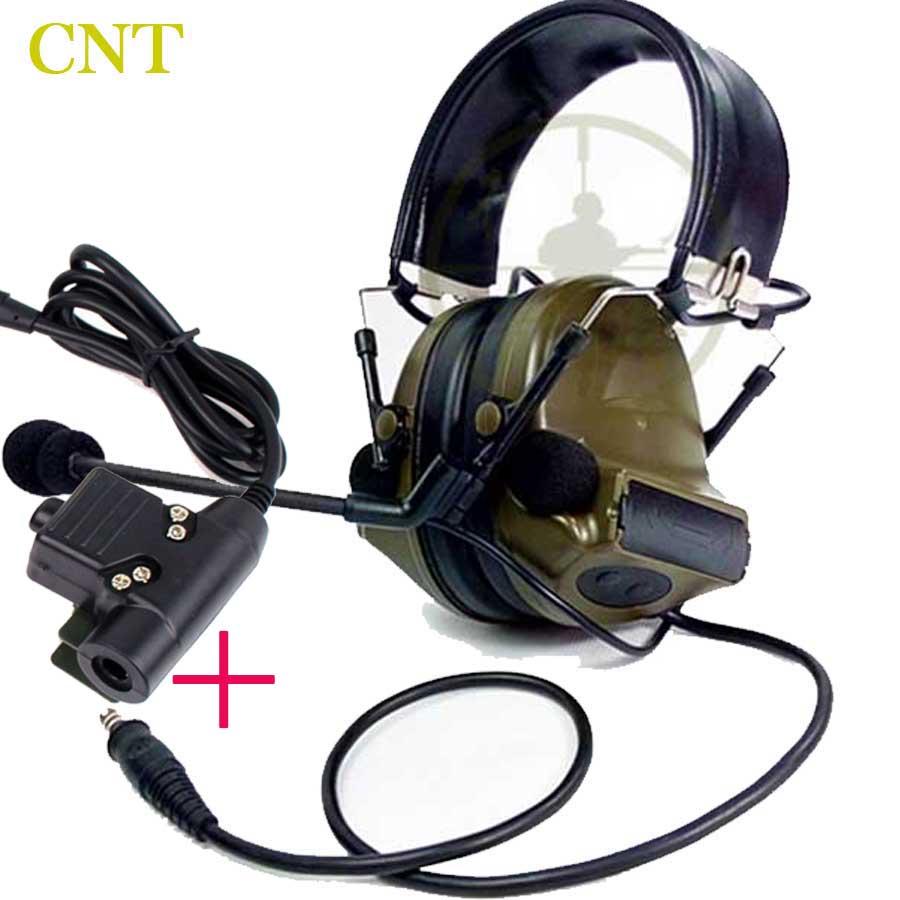 Tactical comtac ii cuffia di riduzione del rumore militare con u94 ptt per kenwood motolora midland airsoft radio tattico auricolari