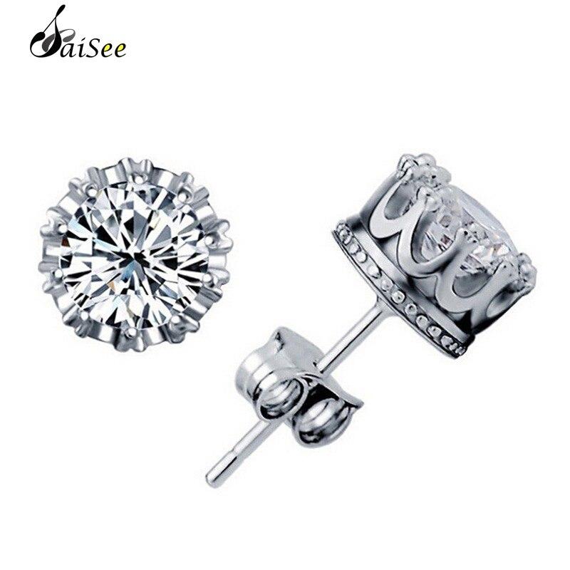 SaiSee Elegant Imperial Crown Crystal Stud Earrings For