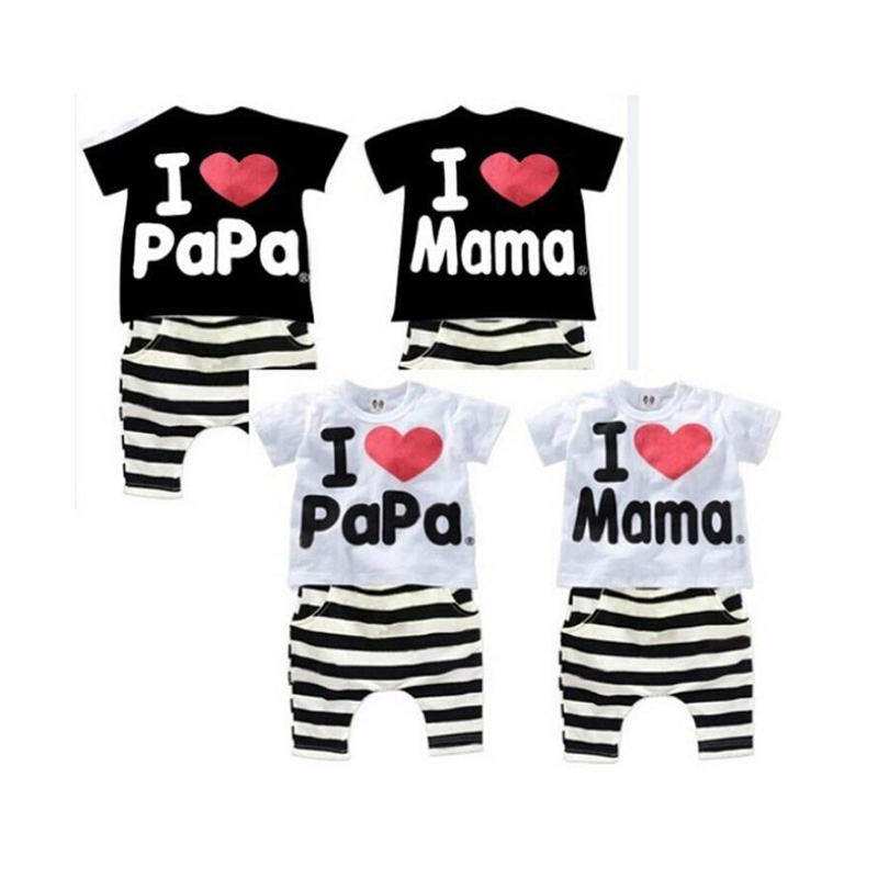 New Summer Children Baby Boy Clothes Sets Kids I Love PaPa MaMa Clothes Suit Boys Girls T-shirt Striped Pants Pajamas Sets V49 2015 new arrive super league christmas outfit pajamas for boys kids children suit st 004