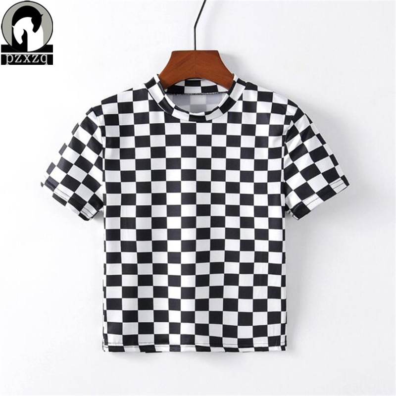 2019 New Women Black And White Plaid Printing T Shirt Short-sleeve T-shirt Female Casual Crop Top Short Sleeve Harajuku Tops Hot