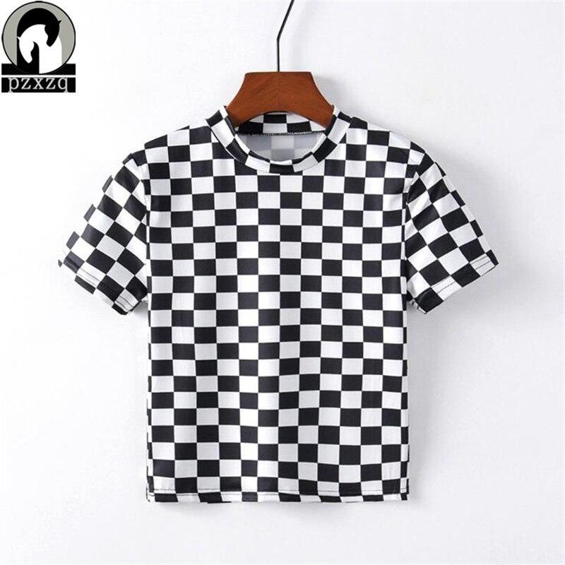 2019 novas mulheres preto e branco xadrez impressão t camisa de manga curta camiseta feminina casual colheita topo manga curta harajuku topos quente