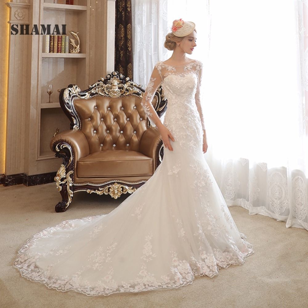 Lace Wedding Gown Designers: SHAMAI New Design Lace Flowers Wedding Dress High Quality