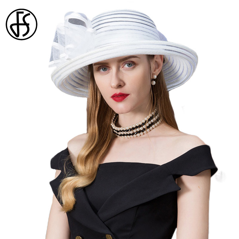 ceca4324023 FS Woman Hat Summer 2018 White Wide Brim kentucky Derby Hats For Women  Elegant Church Fedoras With Bowknot Chapeau Femme Feutre-in Fedoras from  Apparel ...