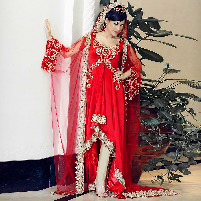 Front Short Back Long Red Evening Dress With Sleeves Dubai Moroccan Kaftan Turkish Women Clothing Gowns