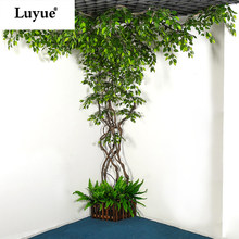 Artificial Plant Simulation plant Vines Rattan Leaves Eucalyptus Mango LEAVES Home decoration hotel living room decoration(China)