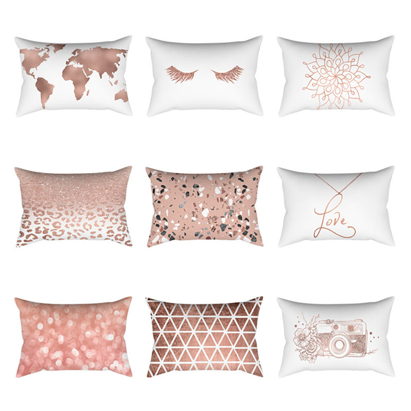 Rose Gold Pink Cushion Cover Square Pillowcase Home Decoration 30cm X 50cm Home Decoration Accessories Modern Living Room Es Aliexpress