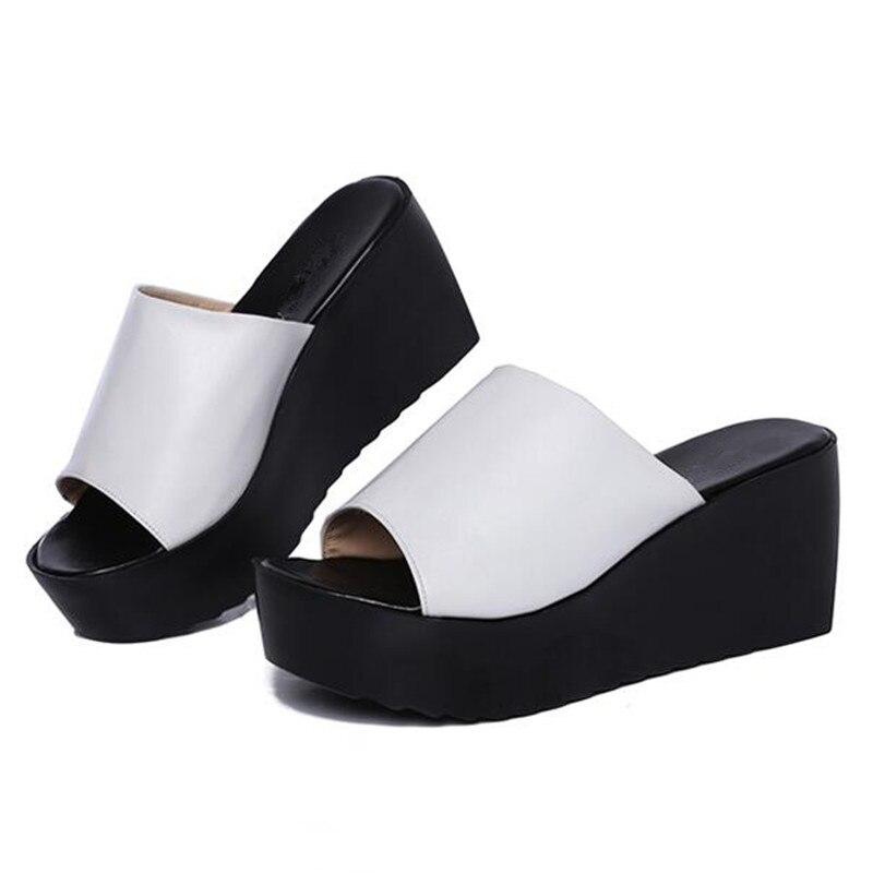 Cales D'été En Véritable Sandales Hauts Cuir Plate Talons Femmes Nouvelle forme blanc 2018 Noir Pantoufles Élégant Et Confortable wOkn0P8