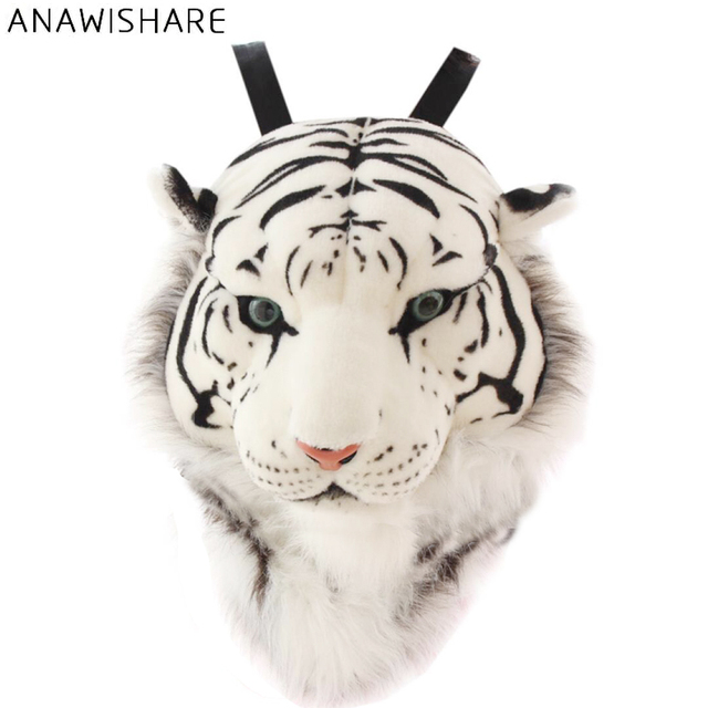 ANAWISHARE 3D Tiger Head Backpack Cartoon Animal Lion Bags White Women Men  Casual Daypacks for Travelling Kids Bags Bolsas