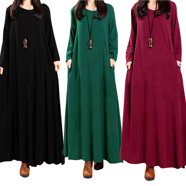370d7bfd599 Loose Vintage Plus Size Women Long Dress Long Sleeve Elegant Maxi Dress  Dark Green Red Black