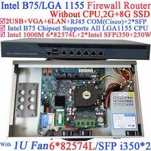 mikrotik vpn 1U Firewall rack server with Six 1000M 82574L Gigabit NIC two intel i350 SFP fiber ports NO CPU 2G RAM 8G SSD