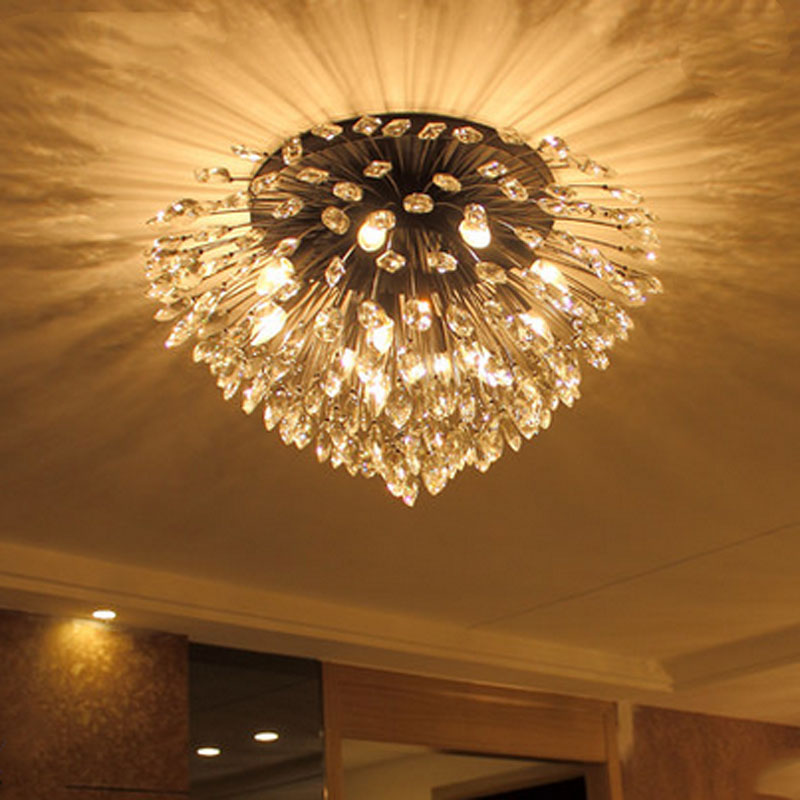 Living room lights crystal American rustic atmosphere led hall lights retro iron bedroom personalized creative ceiling lamps chandeliers lights led lamps e27 bulbs iron ceiling fixtures glass cover american european style for living room bedroom 1031