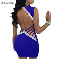 RLMABABY Sexy Hollow Out Night Club Women Dress Slim Deep V Neck Sleeveless Sequined Patchwork Femme
