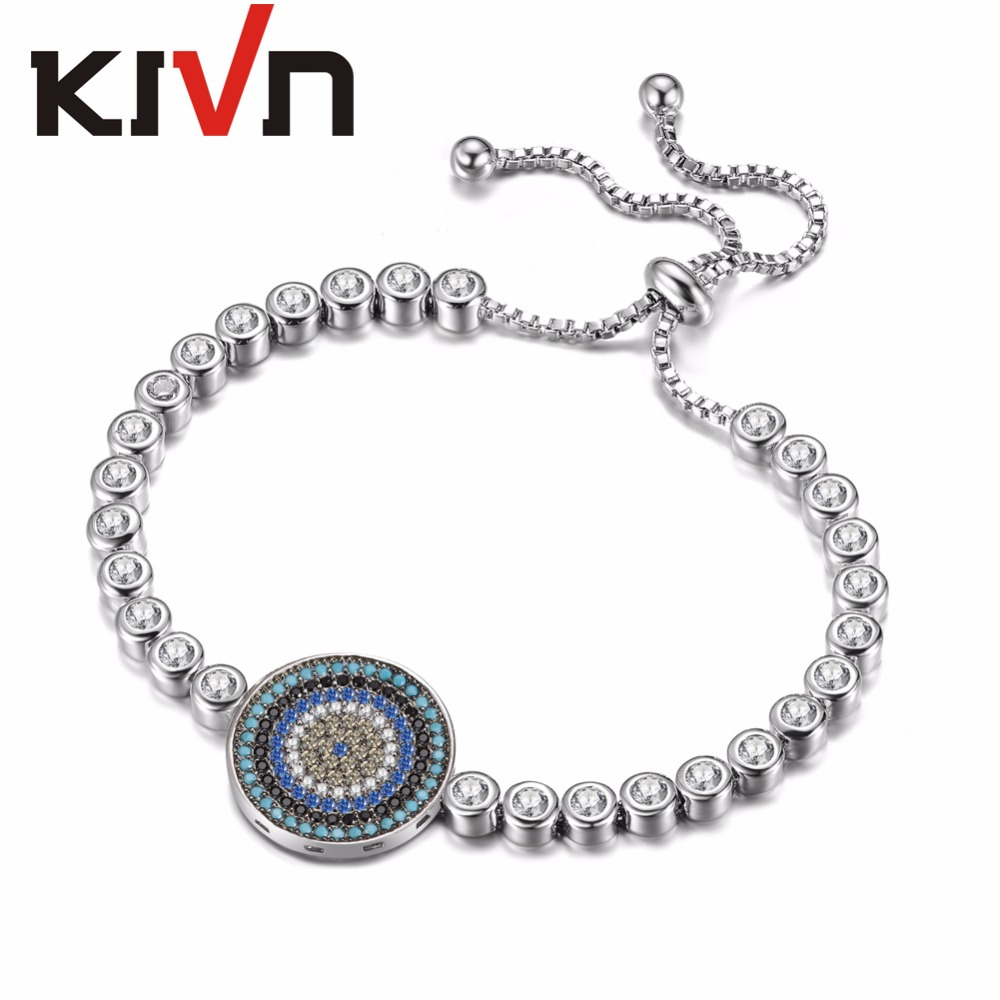 KIVN Womens Jewelry Adjustable Turkish Blue eye Charm Tennis CZ Cubic Zirconia Bridal Wedding Bracelets Birthday