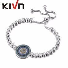 KIVN Womens Jewelry Adjustable Turkish Blue eye Charm Tennis CZ Cubic Zirconia Bridal Wedding Bracelets Birthday Christmas Gifts