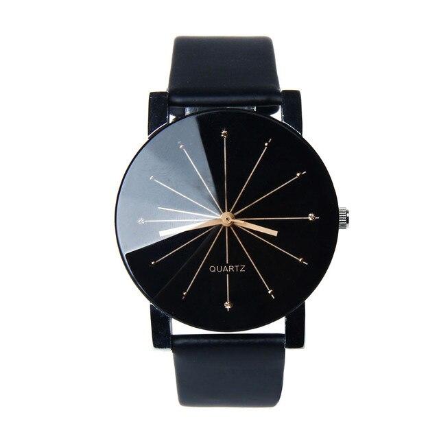 2019 New Fashion Simple Lovers Couple Watch Men Women Quartz Clock PU Leather Di