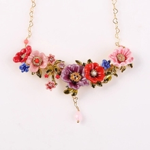 France  Les  Nereides  Enamel  Glaze  Copper  Romantic  Various  Flower  Tassel  Women  Necklaces