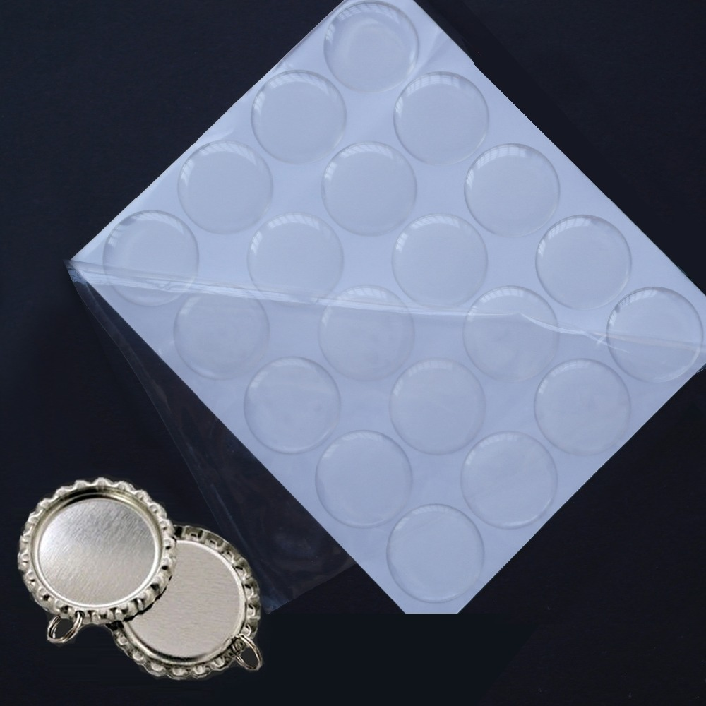 "Loyal Sutoyuen 100 Pcs 1"" 25.4mm Round Sliver Chrome Flattened Bottle Caps With Split Rings & 100 Pcs Clear Circle Epoxy Dome Sticker Complete In Specifications"
